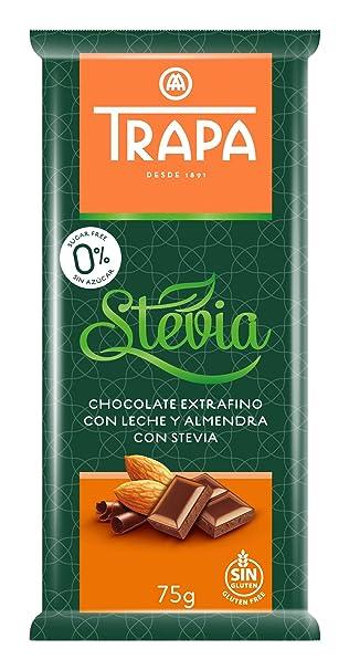 Trapa Tableta de Chocolate Extrafino, con Leche y Almendra, con Stevia - 75 gr