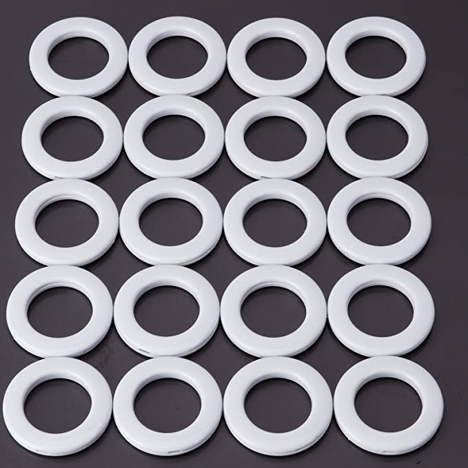 Analdia - Paquete de 20uds Ollao Redondo a presión Anillos Ojales para Cortinas Diámetro Interior: 35.5mm Diámetro Exterior: 55mm (blanco): Amazon.es: Hogar
