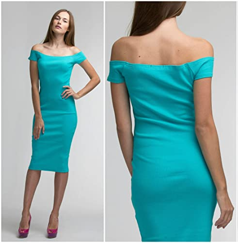 a6dd284ff75 Sexy Cocktail Dress - Tight   Bodycon - Rib-knit Stretchy Jersey Cotton -  Turquoise - Off-shoulder   Short Sleeves - S-XL sizes - DHL shipping -  MiddayShop ...