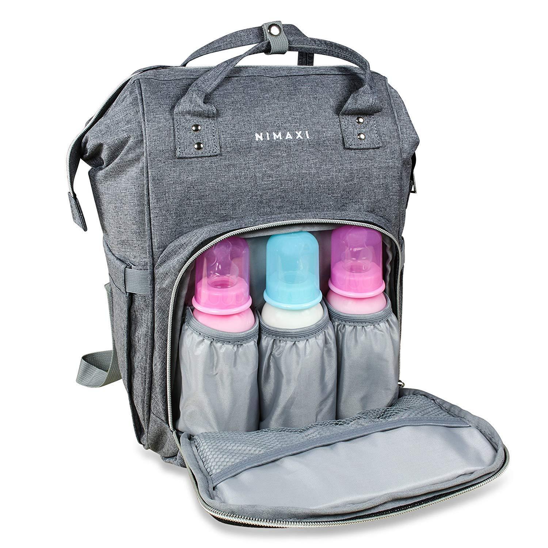 NIMAXI Wickeltasche mit Wickelunterlage für unterwegs, Größe: LxHxB: 40x25x16cm, Farbe: Grau, Lässige und stylische Tasche mit isolierten Flaschenhaltern FuTrade