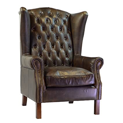 Design Tree Home Moscow Antique Leather Wing Chair - Amazon.com: Design Tree Home Moscow Antique Leather Wing Chair: Home