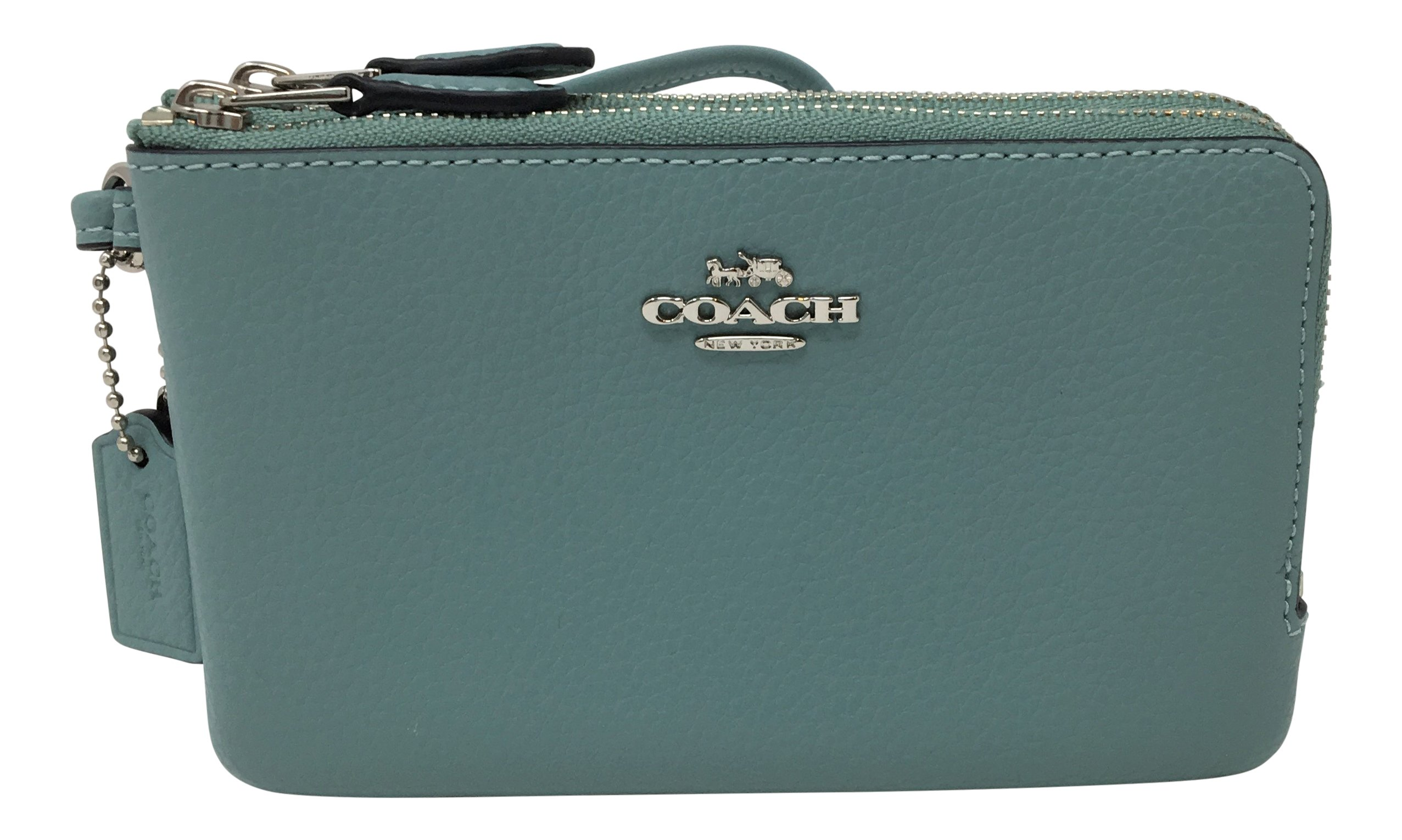 Coach Pebbled Leather Double Corner Zip Wristlet Aquamarine F87590