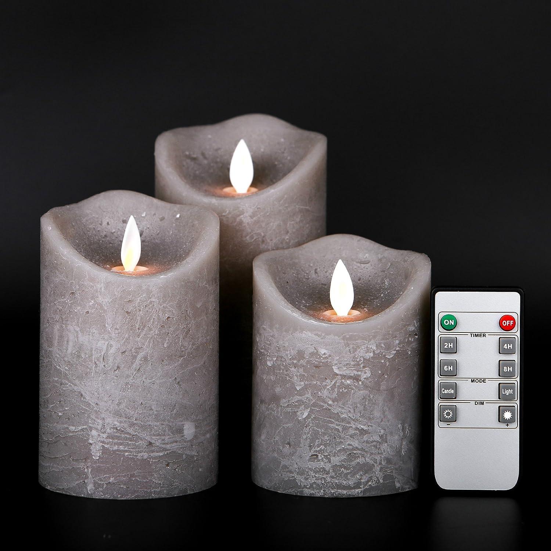 Kitch Aroma 火を使わないキャンドル 3個 4/5/6インチ 電池式 LEDピラーキャンドル ゆれる炎の芯とタイマー付き ウェーブトップ マーブルグレーカラー B075LQF2FQ 15810
