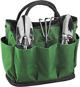 Portable Garden Tote Multi Pocket Gardening Tool Storage Bag with 8 Pockets Outdoor Garden Plant Tool Bag Organizer Holder Large Heavy Duty Oxford Tote Lawn Yard Bag Pouch Carrier for Indoor Outdoor