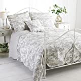 """Paoletti Canterbury Tales """"Toile De Jouy"""" Quilted Bedspread, Grey, King"""