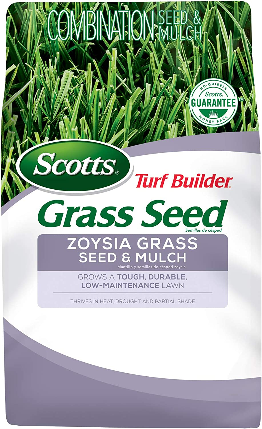 Scotts Turf Builder Grass Seed Zoysia Grass Seed and Mulch, 5 lb. - Full Sun and Light Shade - Thrives in Heat & Drought - Grows a Tough, Durable, Low-Maintenance Lawn - Seeds up to 2, 000 sq. ft. : Grass Plants : Garden & Outdoor