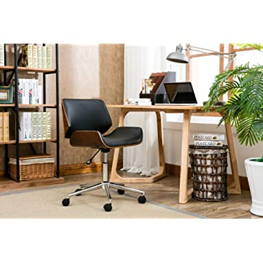 Porthos Home KCH019A BLK Dove Office Chairs in Mid-Century Modern Design with Leather Upholstery, Wooden Accents, Stainless Steel Legs, Roller Wheels & Adjustable Height, Black