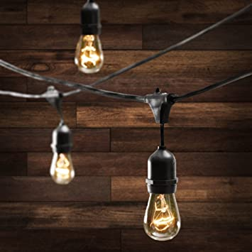 Amazon outdoor commercial string globe lights with hanging outdoor commercial string globe lights with hanging drop sockets 50ft 24 sockets and bulbs aloadofball Image collections