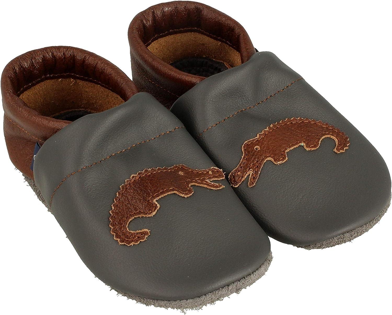 Pantau IT'S A SMALL WORLD Chaussons d'éveil et poupées en cuir crocodile pour enfants et adultes 100 % cuir fait main Gris Marron