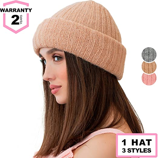 a83371343c0 Braxton Women Knit Winter Beanie - Cuff Brown Ribbed Hat - Fisherman Skull  Knitted Stocking Cap
