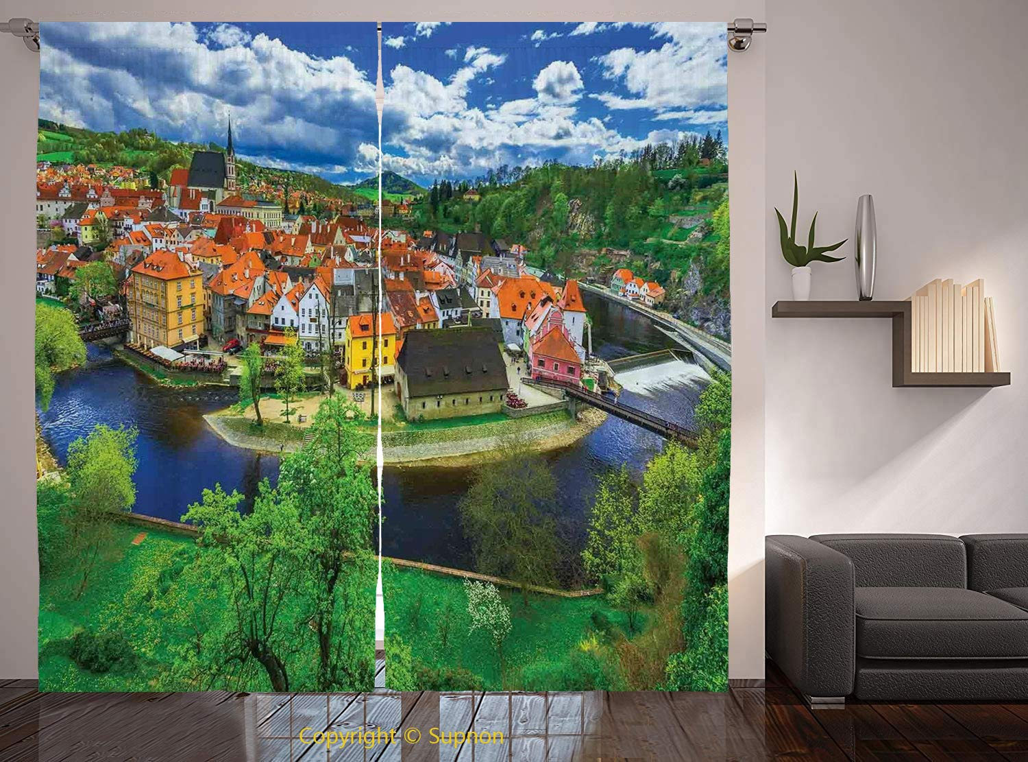 Living Room Bedroom Window Drapes/Rod Pocket Curtain Panel Satin Curtains/2 Curtain Panels/108 x 84 Inch/Wanderlust Decor,Cesky Krumlov Czech Republic Buildings Cathedral Touristic Place Panoramic Pic