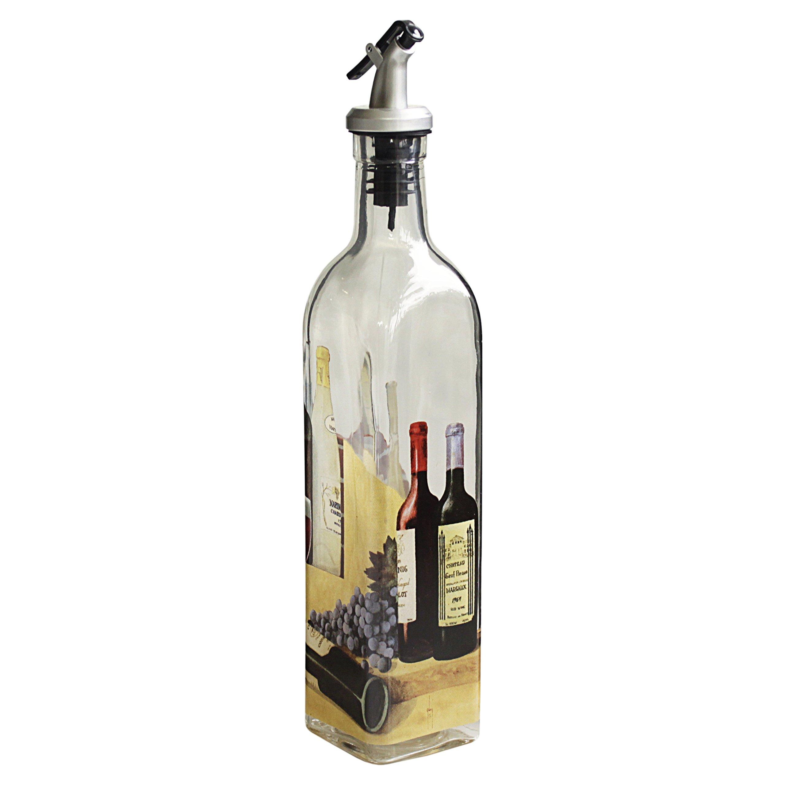 Grant Howard Wine & Cheese Theme Oil and Vinegar Glass Cruet , 16 oz, Multicolored