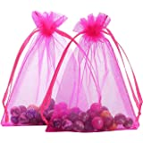 Anleolife 50pcs Sheer Pink Organza Bags For Favors 4.3x3.5 inch Gift Bags Organza Jewelry Candy Bags Business Packing Drawable Organza Wedding Baby Shower(hot pink)