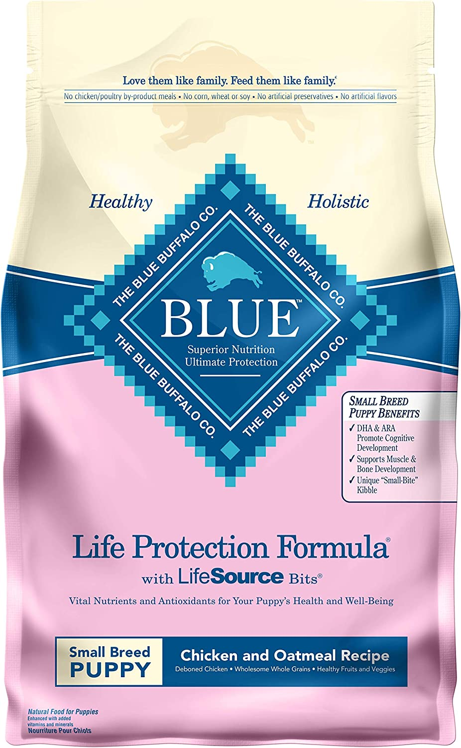 Blue Buffalo Life Protection Formula Natural Puppy Small Breed Dry Dog Food, Chicken and Oatmeal 6-lb
