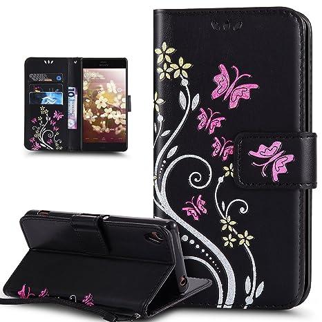 Kompatibel mit Schutzhülle Sony Xperia Z3 Hülle Handyhülle Lederhülle,Bunte Gemalt Prägung Schmetterlings Blumen PU Lederhüll