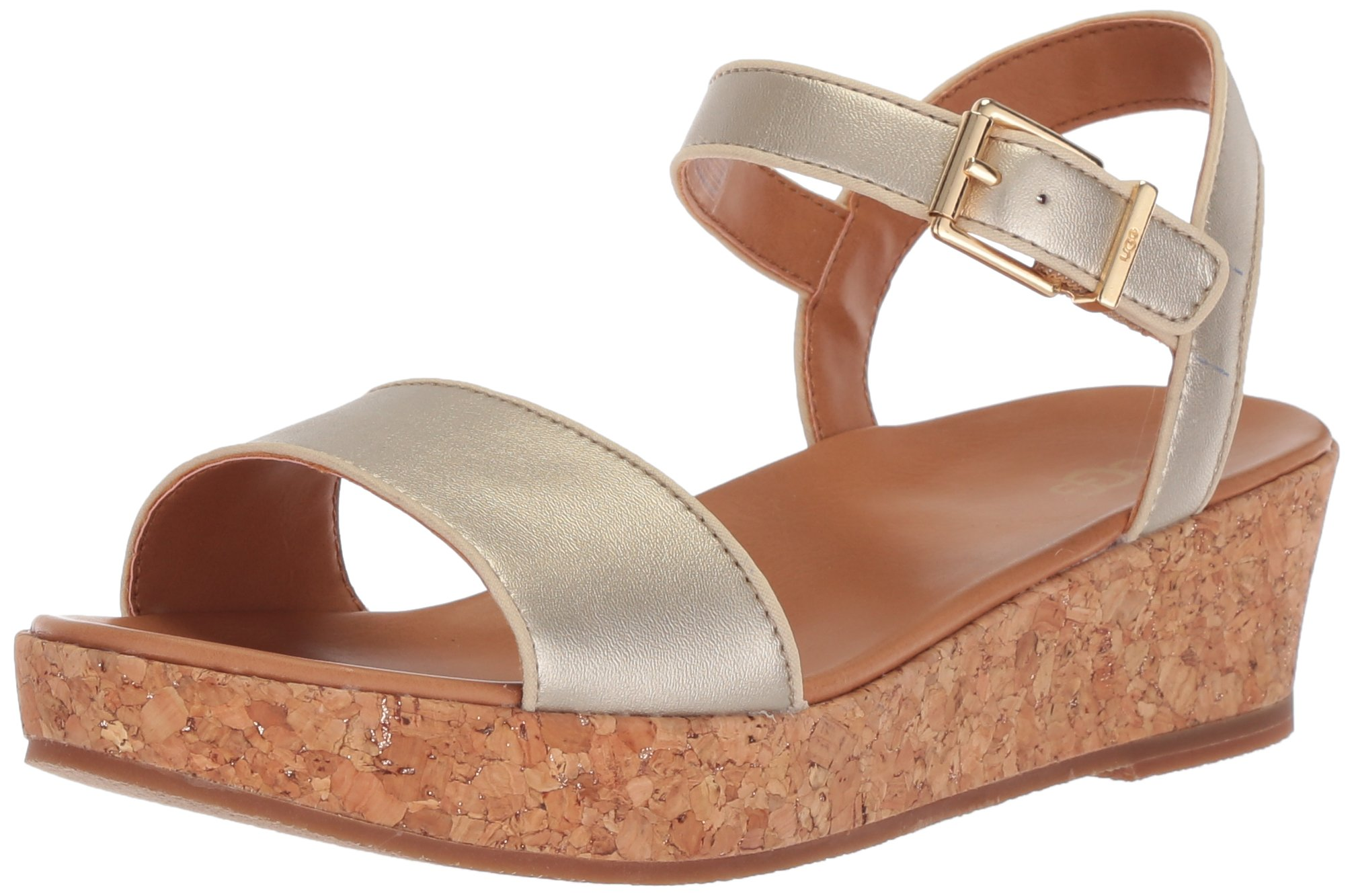 UGG Girls K Milley Metallic Wedge Sandal, Gold, 6 M US Big Kid by UGG