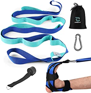 Cerbonny Stretch Strap & Foot Stretcher Set 12 Loops Yoga Stretching strapwith Door Anchor,snap Hook, Nonelastic Stretch Out Strap for Physical Therapy, Plantar Fasciitis,Pilates,Dance and Gymnastics