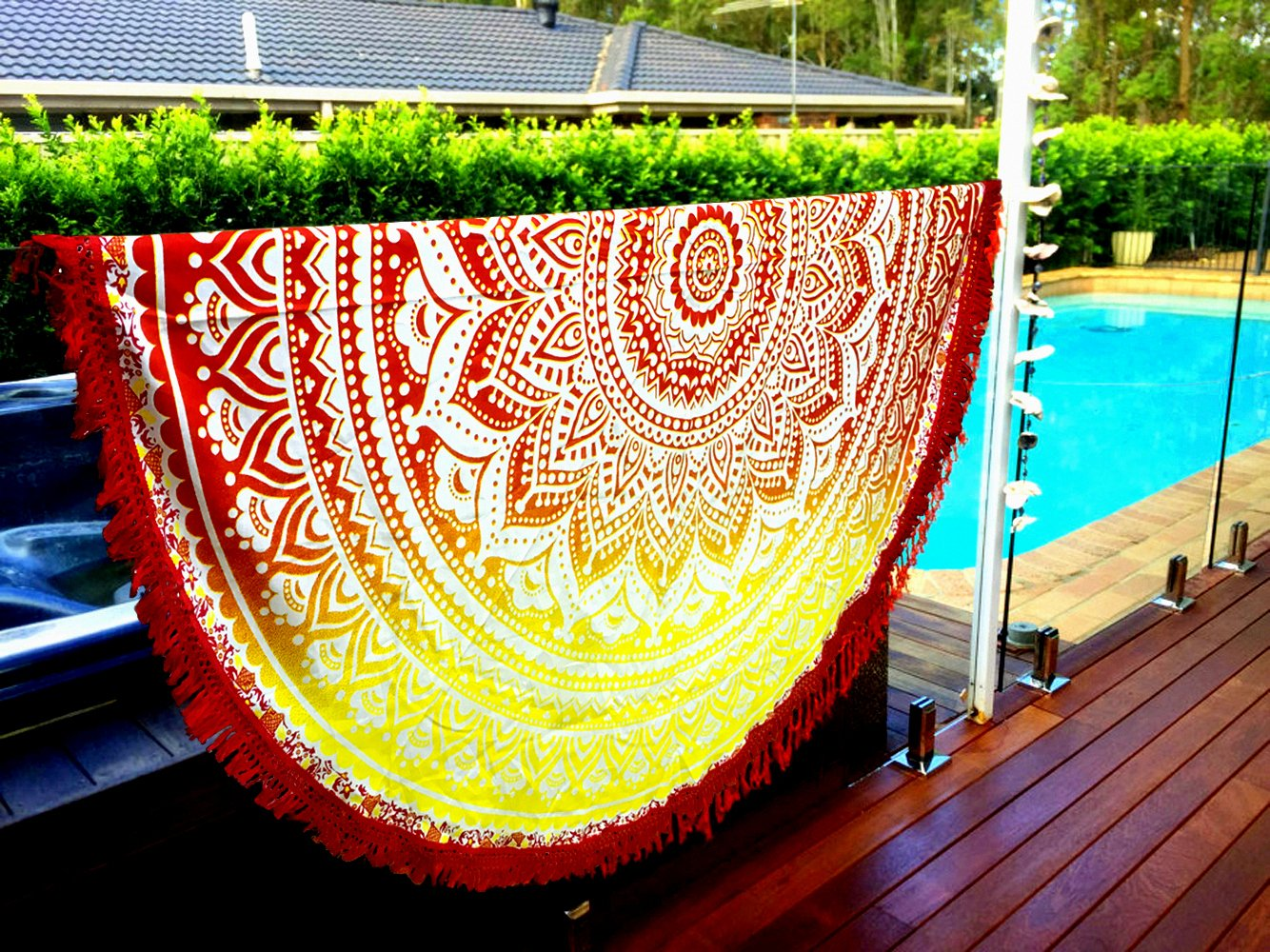 Aakriti Gallery Indian Ombre Mandala Round Tapestry Roundie with frill Beach Throw Cotton Beach Towel, Round Yoga Mat with frill Beach Round Shawl, 72' Beach Leisure, Picnic Mat (Red)