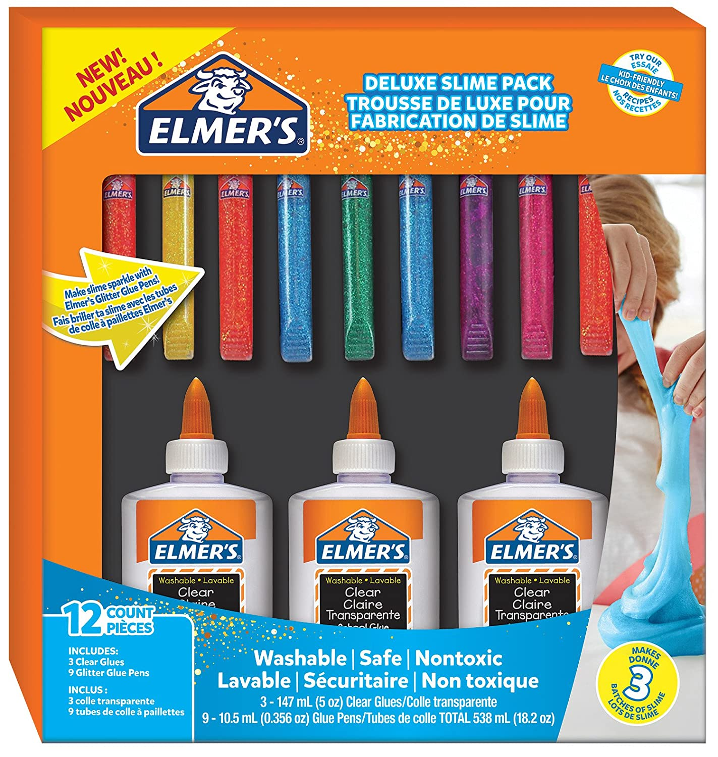 Elmer's Glue Kit, Clear School Glue & Blue Glitter Glue, 4 Count Elmer's Glue Kit Sanford 2022906