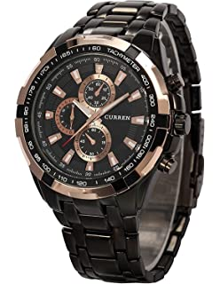 Carrie Hughes Men Gold Automatic Watch Date Self-wind Mechanical Stainless steel Waterproof Watch