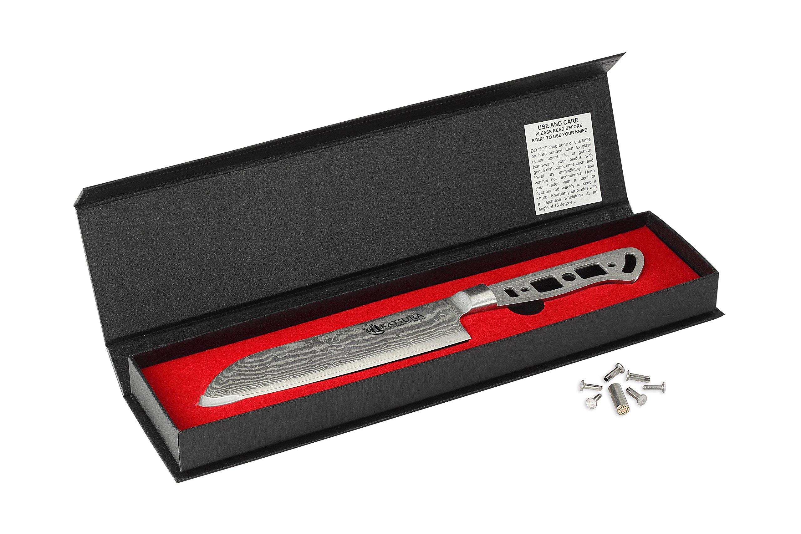 KATSURA Woodworker Project kit - Premium AUS 10 67 Layers Damascus steel - 7 inch Santoku Knife kit blank - Nice gift box