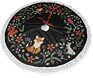 "FREEHOTU Woodland Wreath Christmas Animal Fox Christmas Tree Skirt Gorgeous Edge Tassel Lace for 36"" Xmas Ornaments Decoration"
