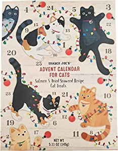 Trader Joe's Advent Calender for Cats Salmon & Dried Seaweed Recipe Cat Treats Christmas Holiday Pet Calendar - 5.11 oz. Box