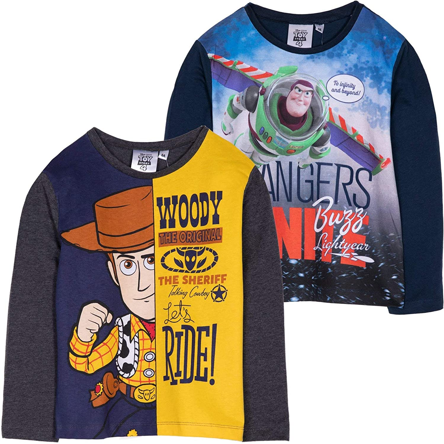 Disney Toy Story 4 Long Sleeve 100/% Cotton Top T-Shirt with Sheriff Woody Buzz Lightyear Characters Picture 2-8 Years