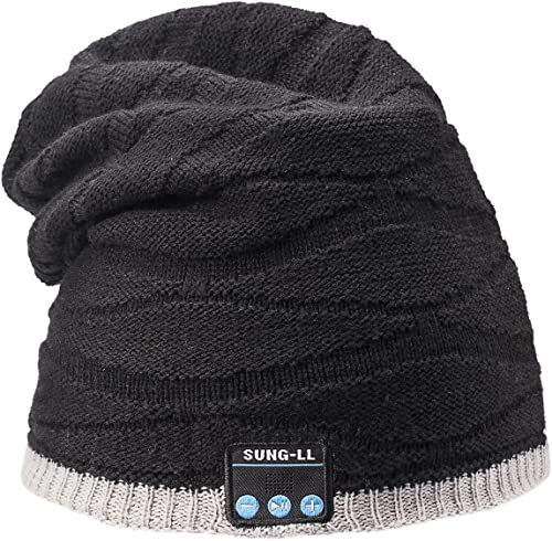 Sung-ll Soft and Warm Cap Wireless Beanie with Smart Speaker Micro Headphone Grey Black