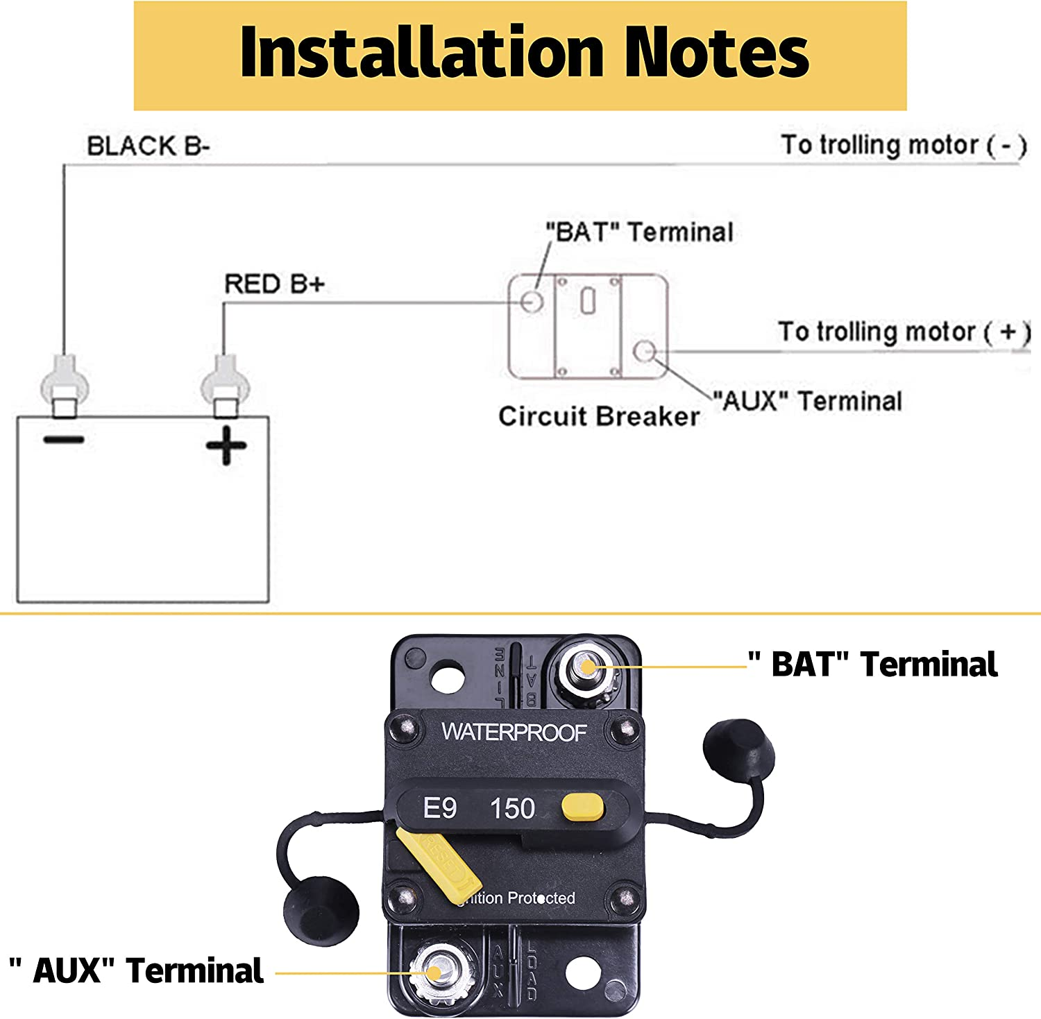 Ships Suitable for Campers 12V-48V DC Circuit Breaker with Manual Reset Waterproof Inline Fuse JUSTTOP 150Amp Circuit Breaker RV etc Trailers