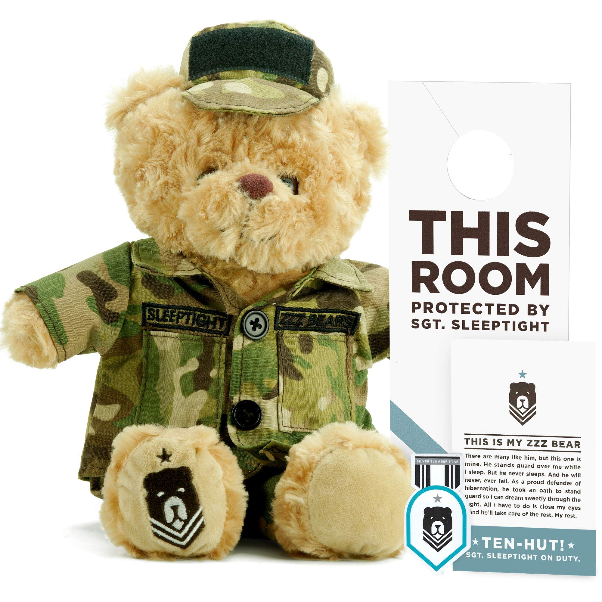 ZZZ Bears SGT. Sleeptight Army Teddy Bear - Military Plush Toy, Four Step Sleep System to Help with Bedtime (Army Camouflage) by ZZZ Bears