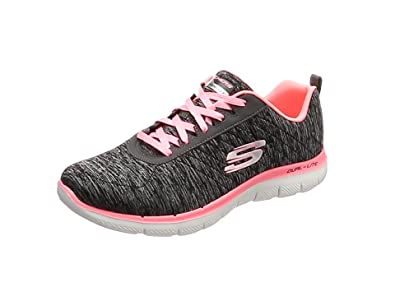Skechers Flex Appeal 2.0, Baskets Femme, Gris (Grey/Coral), 38 EU