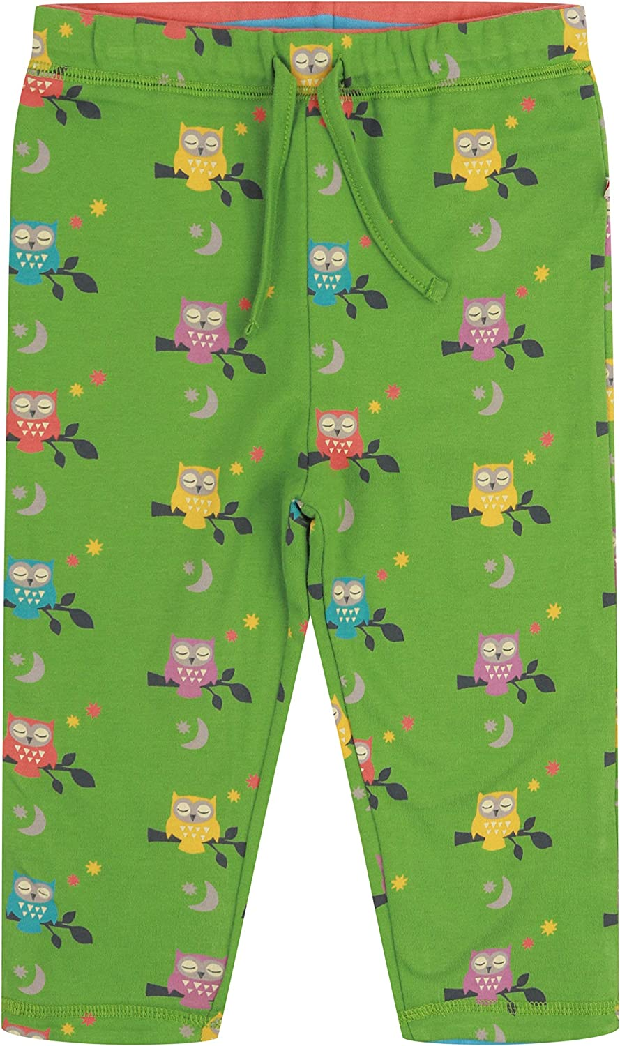 Piccalilly Unisex Reversible Kids Trousers Soft Jersey Organic Cotton Green Owl Design