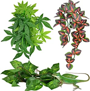 KATUMO Reptile Plants, Amphibian Hanging Plants with Suction Cup for Lizards, Geckos, Bearded Dragons, Snake, Hermit Crab Tank Pets Habitat Decorations