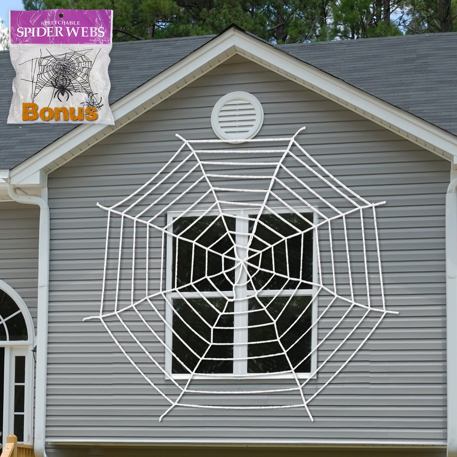 halloween decoration giant spider web window decor with stretch cobweb set white - Halloween Decorations Spider Web