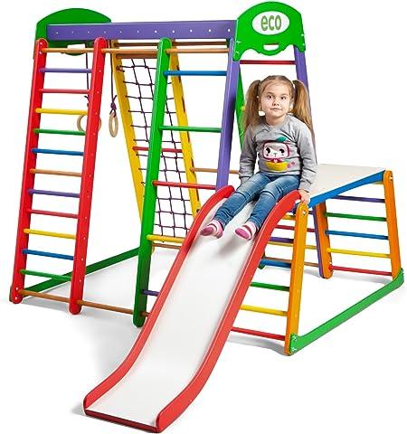 Centro de actividades con tobogán ˝Akvarelka-Plus-1-1˝, red de escalada, anillos, escalera sueco, campo de juego infantil, Juguetes