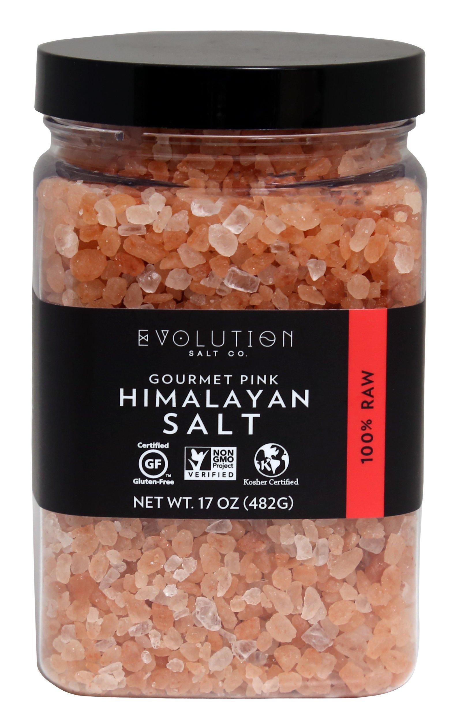 Evoltion Salt Co Gourmet Pink Himalayan Salt, Coarse Grind, 17 Ounce (Pack of 6)