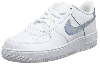 NIKE Air Force 1 (GS), Chaussures de Basketball Fille, Blanc Royal Tint