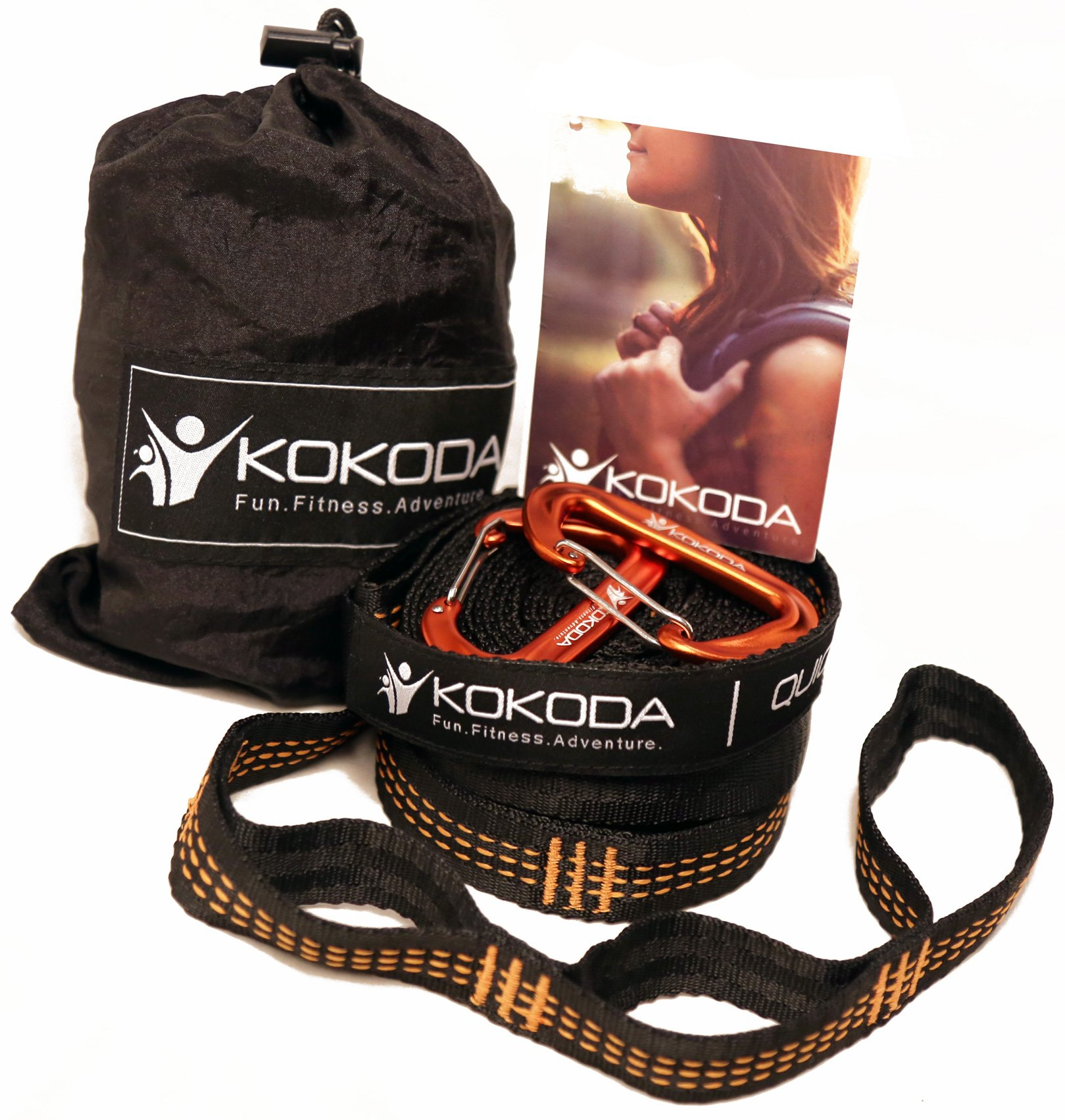 Hammock Straps + 2 free premium carabiners with carry bag; 9 feet long (18 feet total), 16 loops (32 total); extra strong triple stitching, non stretch, lightweight suspension system