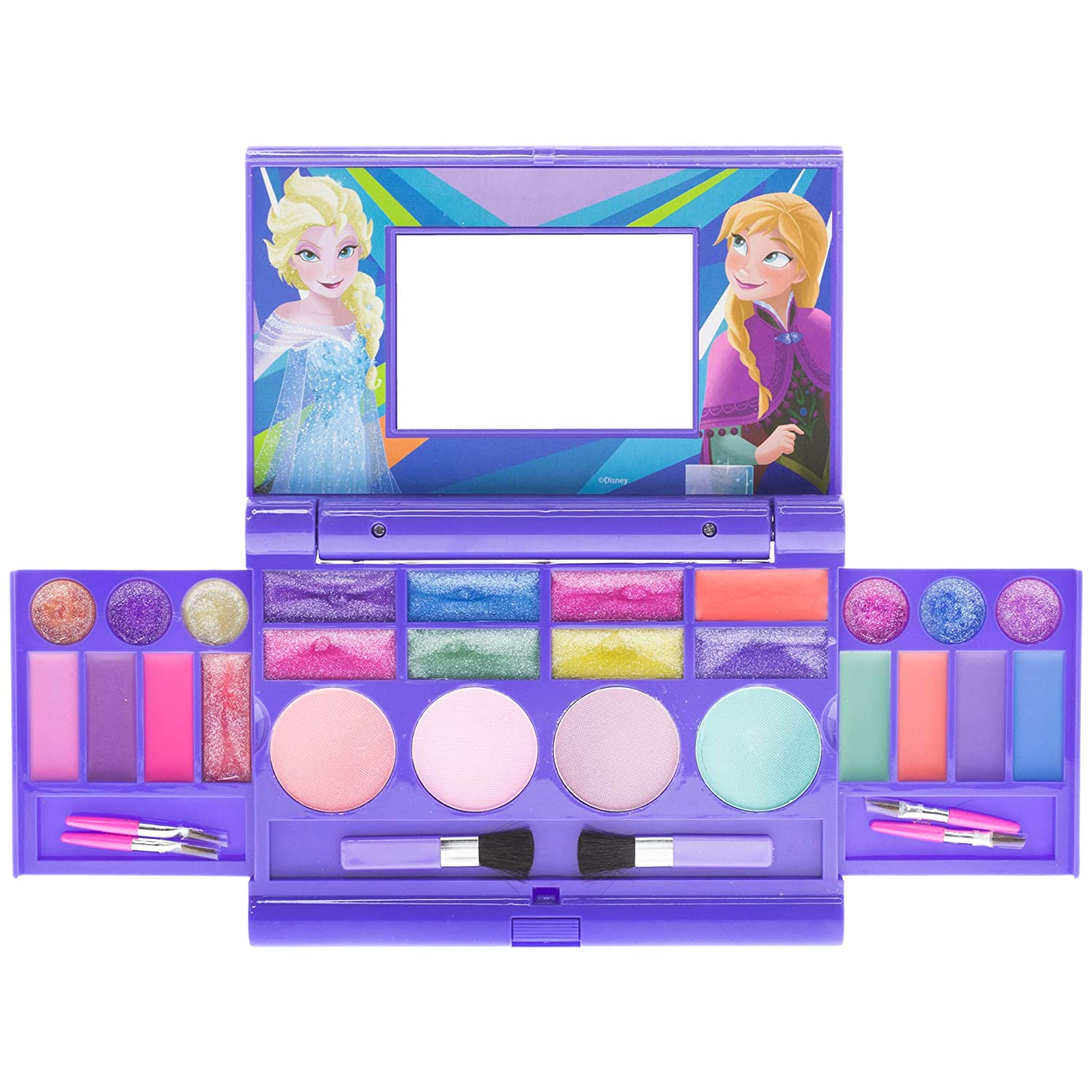 Townley Girl Disney Frozen Elsa and Anna Beauty Kit, Kids Washable Lip Gloss Compact Set (Frozen...