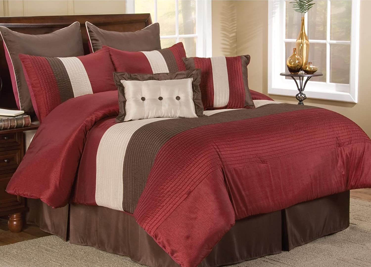 Brown and red bedding - Amazon Com 8 Pc Modern Red Beige Brown Bed In A Bag Comforter Set Queen Size Bedding 90 X90 Comforter By Plush C Collection Home Kitchen