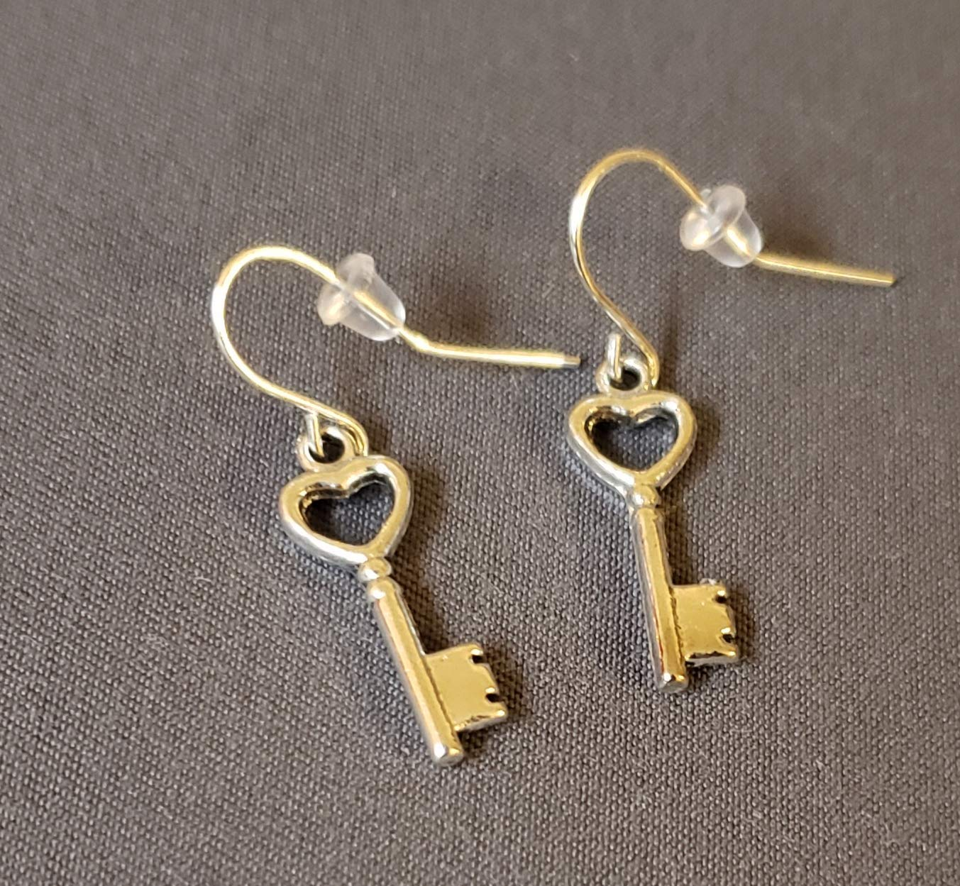 valentine gift for her. Key to my heart earring with sterling silver plated hook