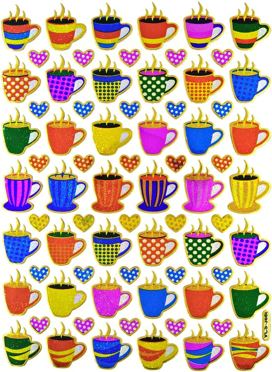 ST10-COFFEE Coffee Tea Cup Sticker Self-Adhesive Glitter Metallic Reflective Foil Decorative Scrapbook for Crafts Journal Planner Birthday Party Photo Card Diary Album