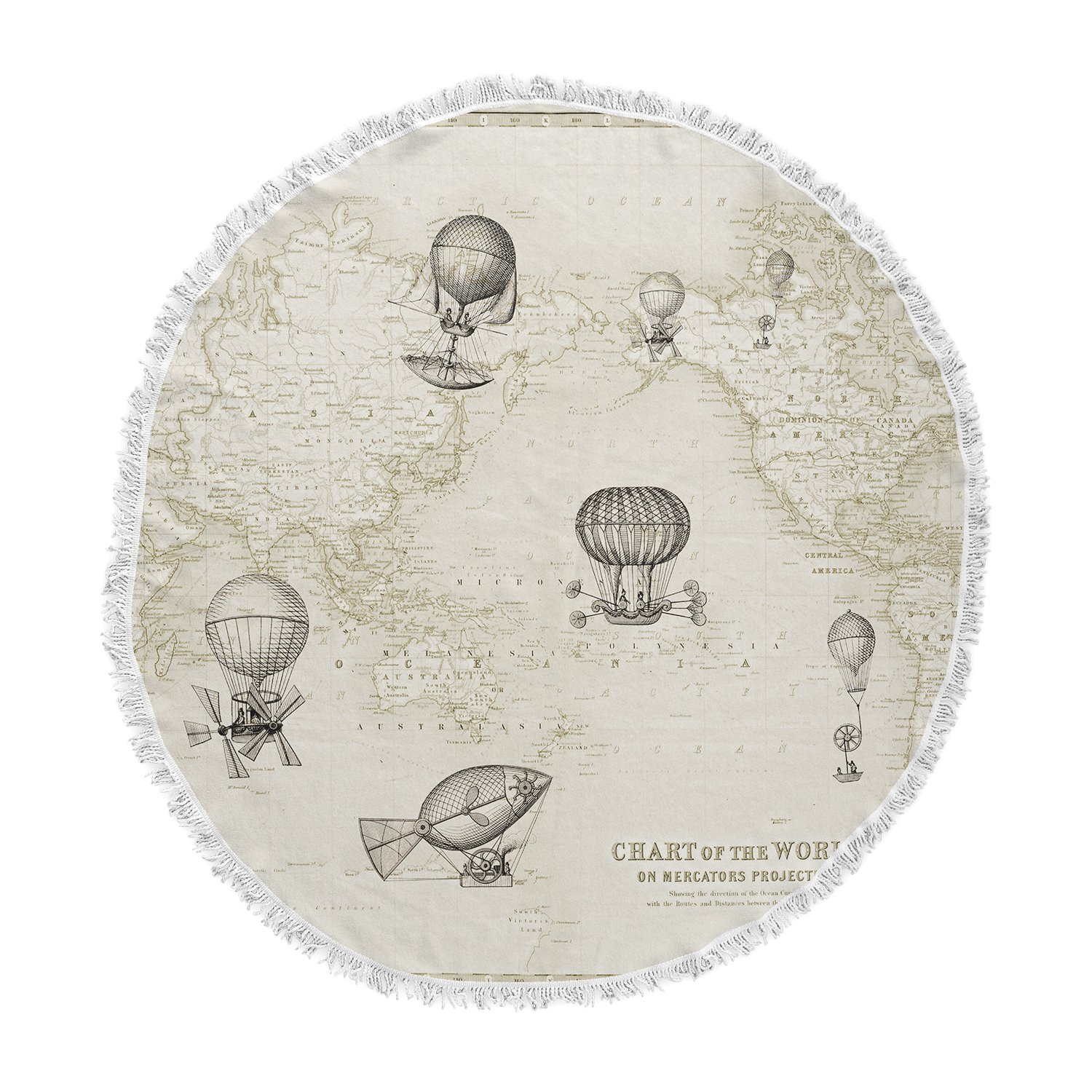 Kess InHouse Catherine Holcombe The Southern Route Brown White Round Beach Towel Blanket