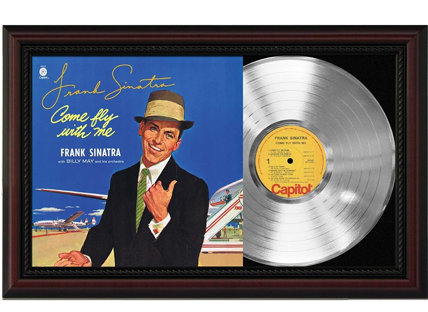 Frank Sinatra Come Fly With Me Cherrywood Framed Platinum Signature Display M4