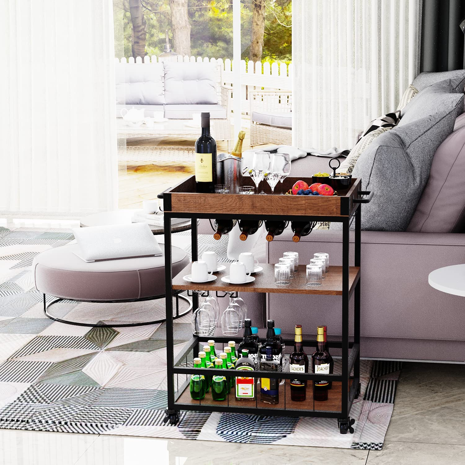 4 EVER WINNER Wine Bar Cart, Kitchen Serving Cart on Wheels, Bar Carts for Home with Storage, Removable Top Tray, Metal Handle Rack Glass Holder, Rustic Industrial and Black