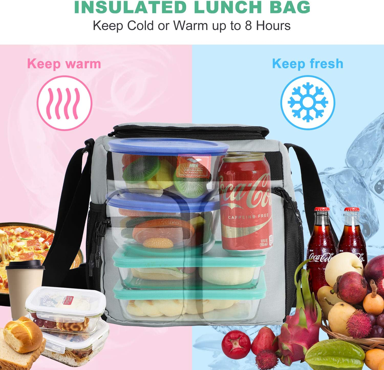 12Can//10L MIER Small Insulated Lunch Box Bag for Women Men Kids Leakproof School Work Lunch Cooler Black