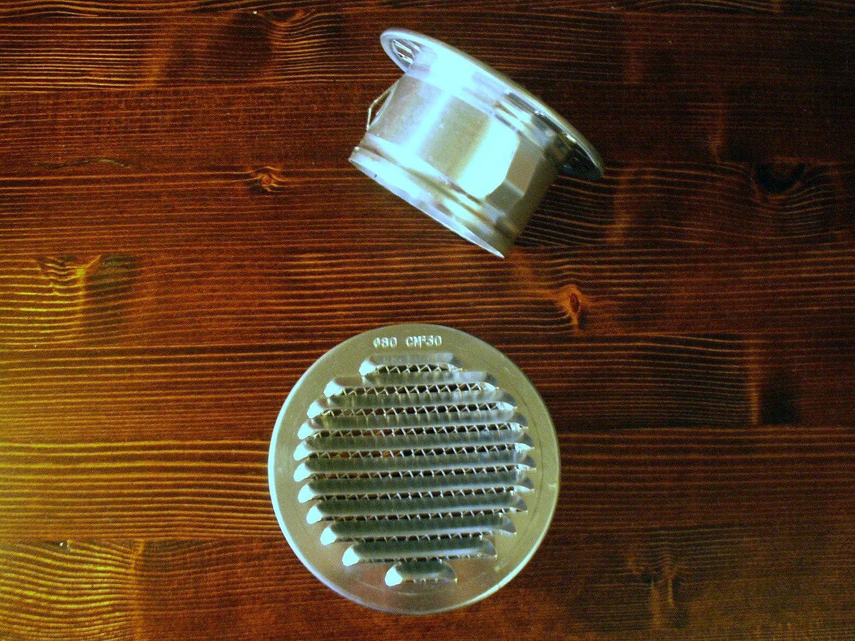 150 mm L/üftungsgitter Rund Aluminium mit Stutzen und Insektengitter in 80 bis 200 mm Durchmesser