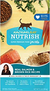Rachael Ray Nutrish Premium Natural Dry Cat Food, Real Salmon & Brown Rice Recipe, 3 Pounds (Packaging May Vary)