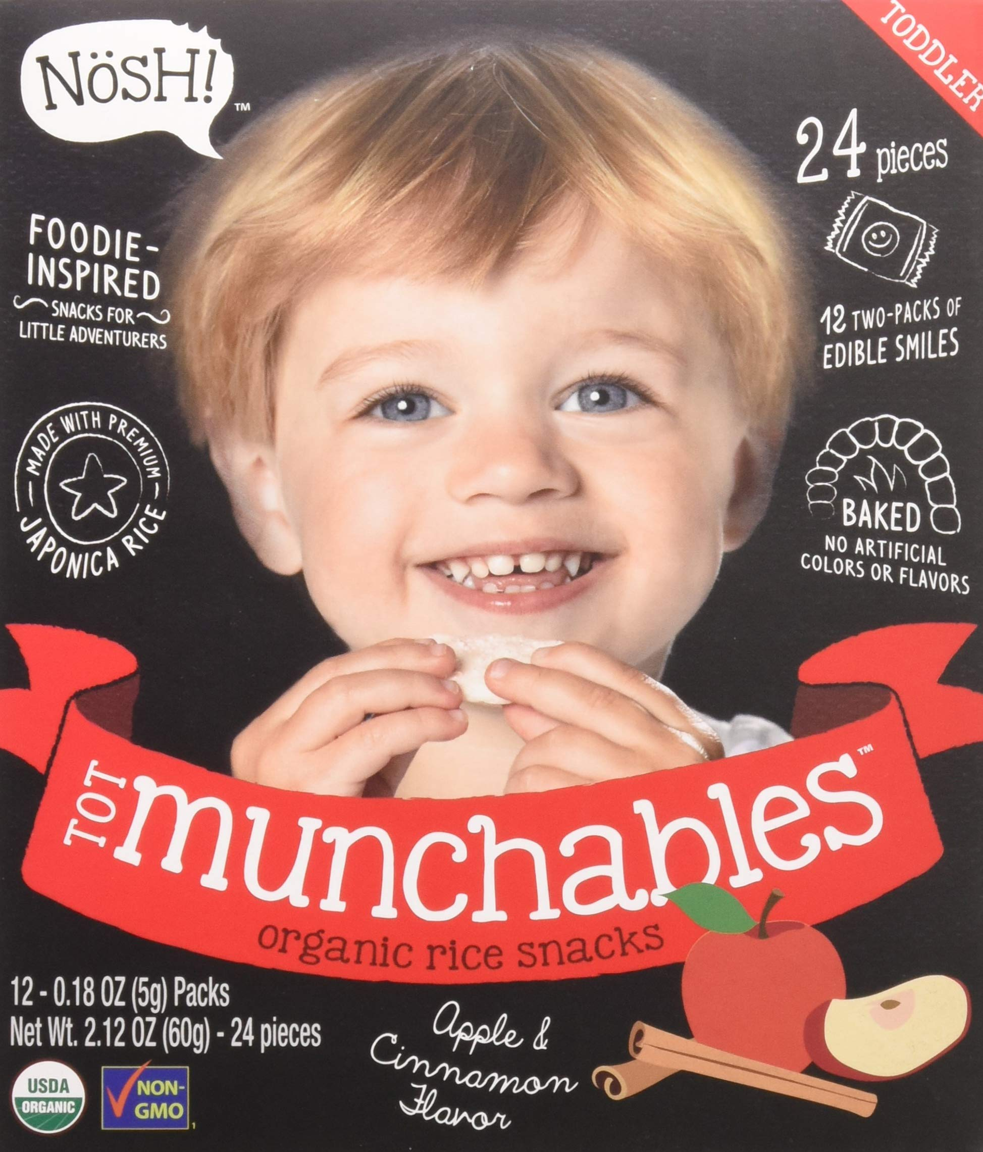 Nosh Tot Munchables Organic Rice Rusk Biscuit Toddler Snacks, 24 Piece, Apple Cinnamon (Pack of 6)